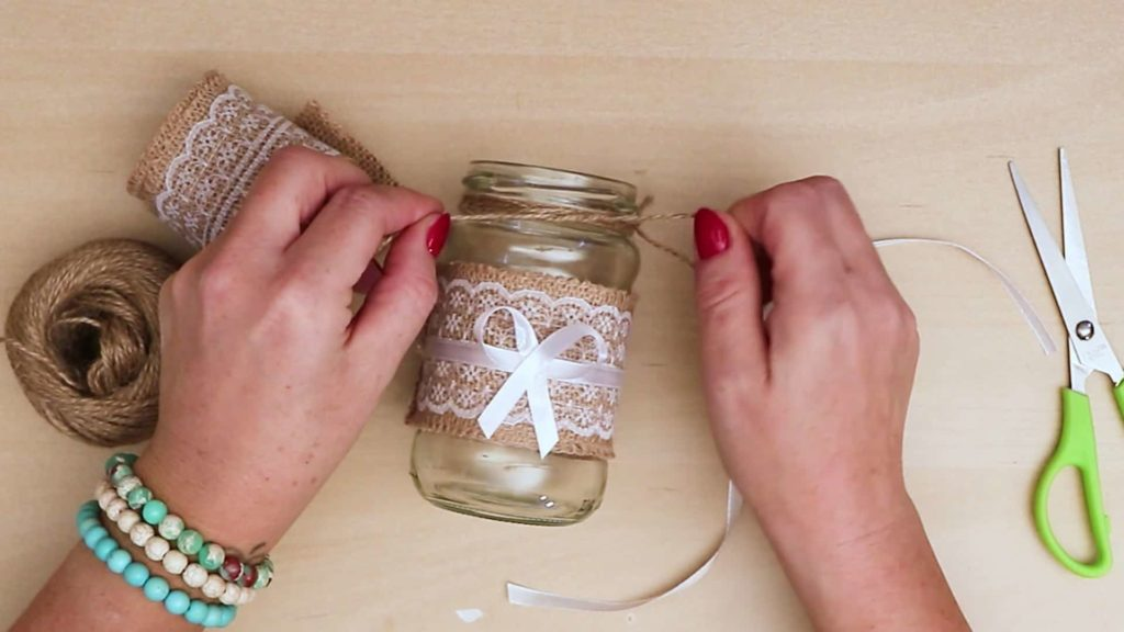 Diy vintage mason jar craft add string