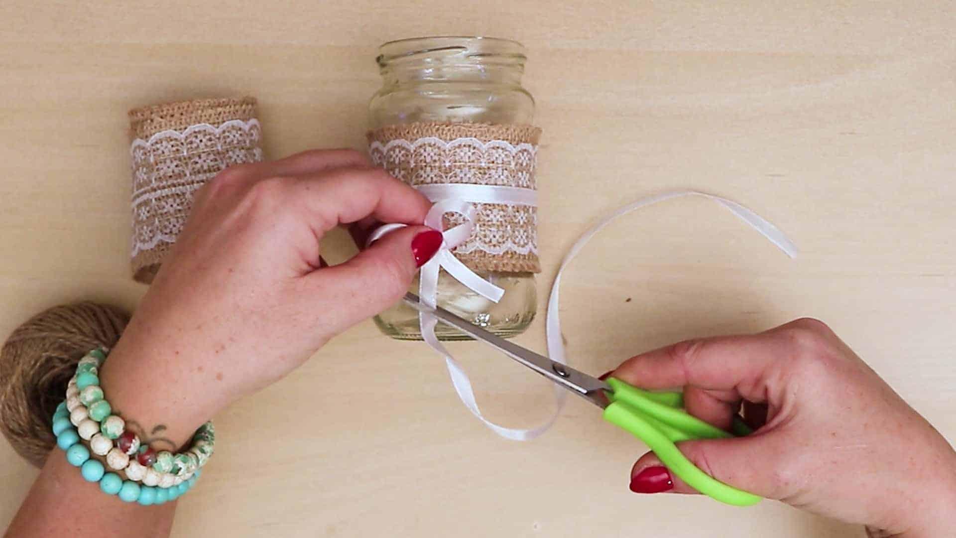Diy vintage mason jar craft cut bow