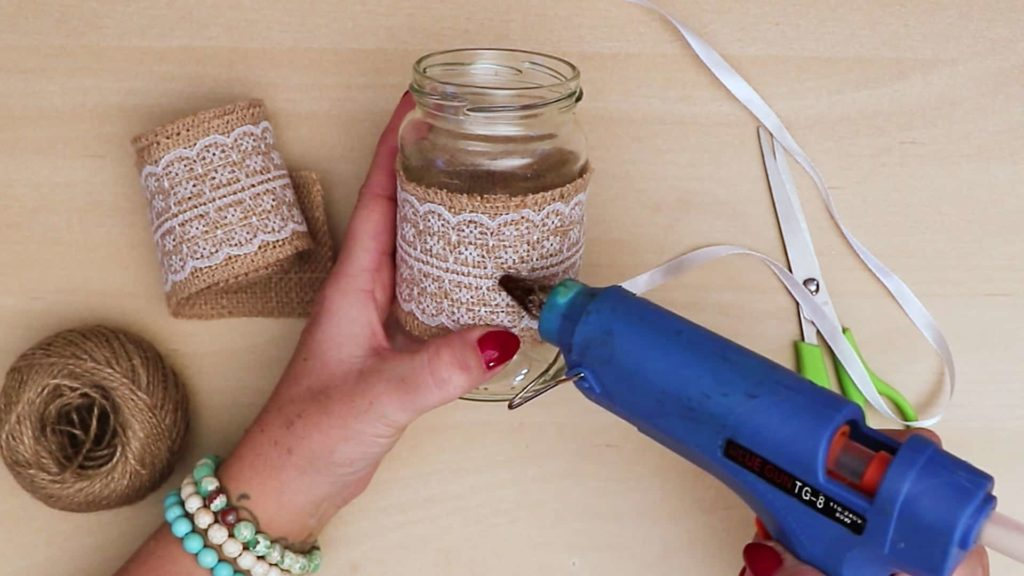 Diy vintage mason jar craft glue top