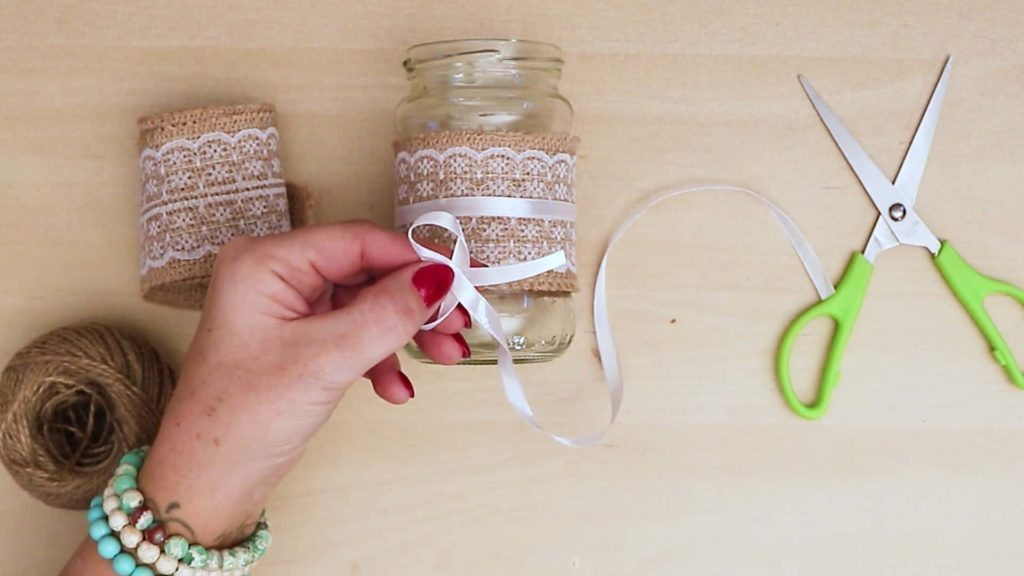 Diy vintage mason jar craft make a bow