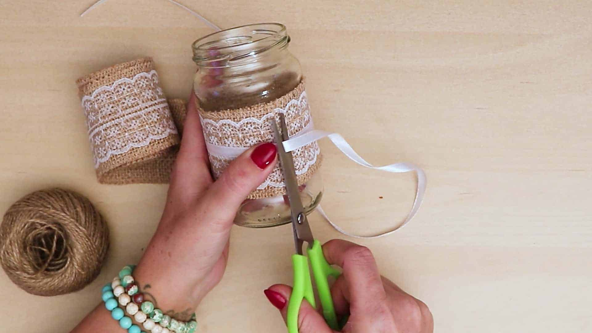 Diy vintage mason jar craft ribbon knot
