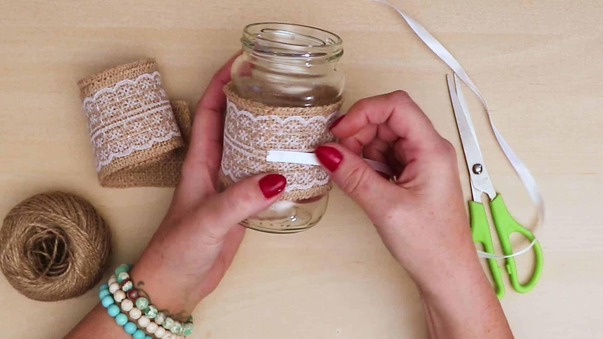 Diy vintage mason jar craft ribbon