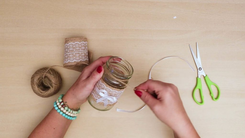 Diy vintage mason jar craft top string