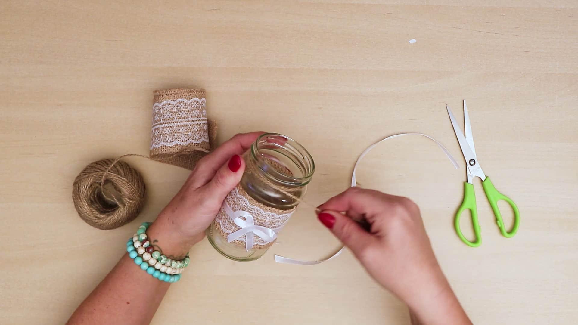 Diy vintage mason jar craft top string