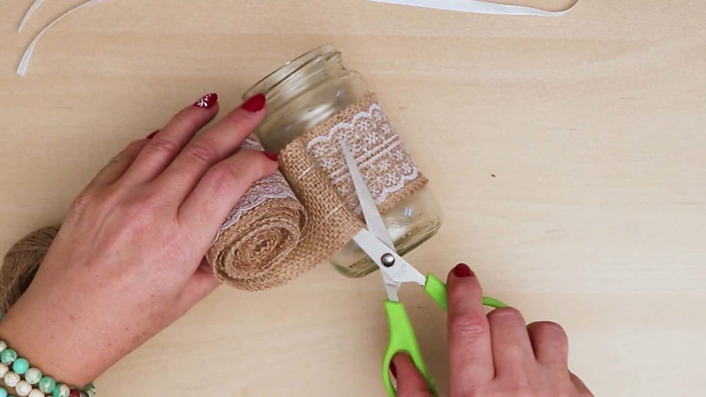 Diy vintage mason jar craft wrap burlap