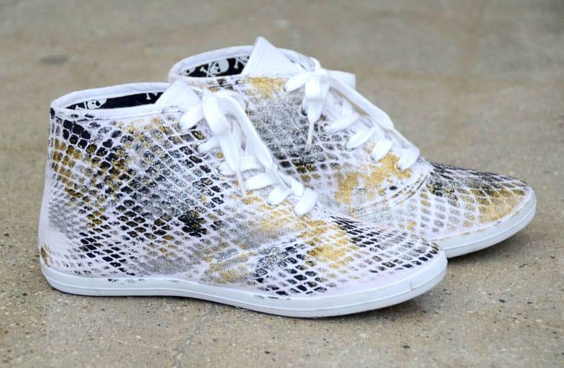 Diy snakeskin painted sneakers