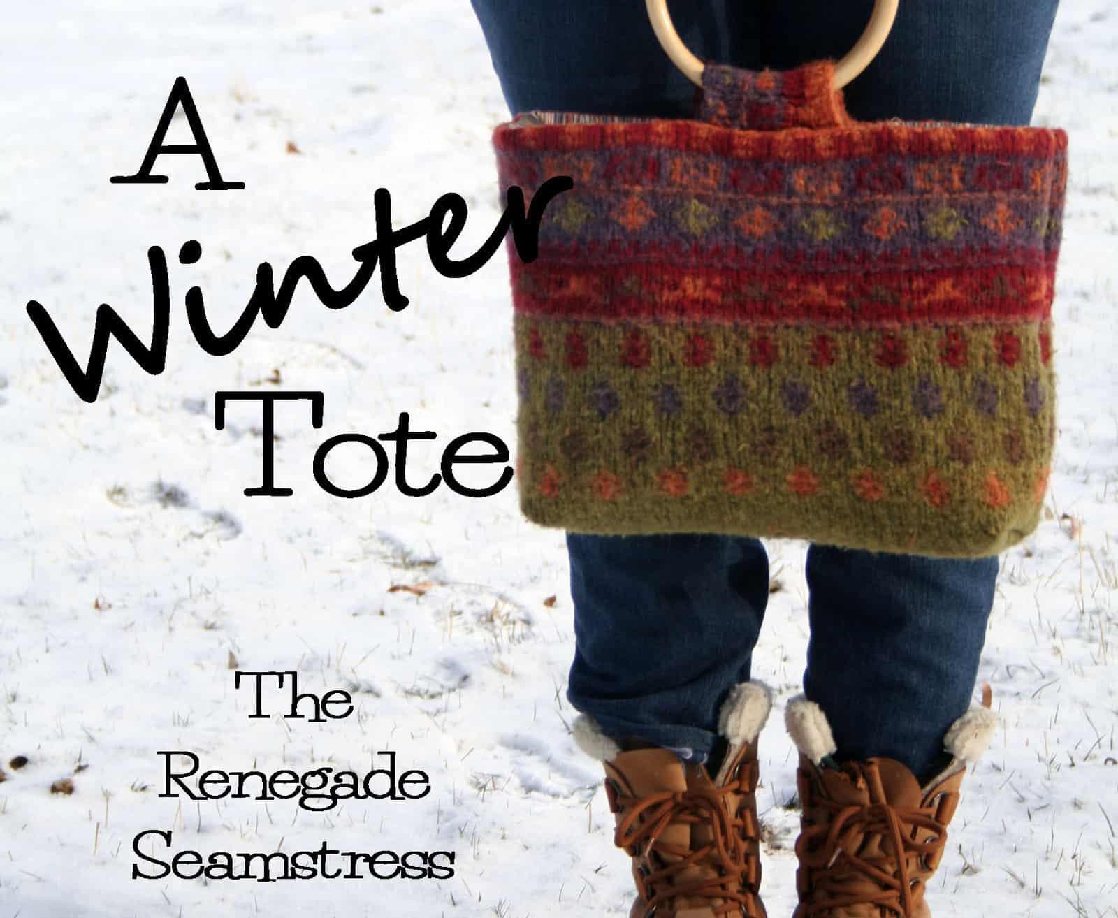 Diy sweater winter tote