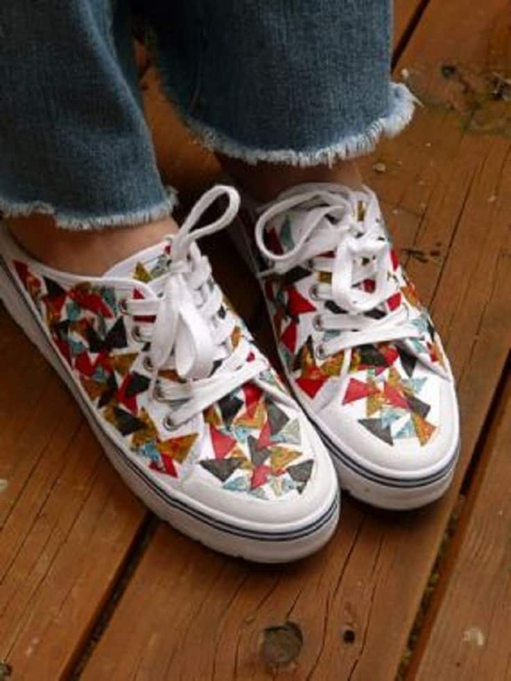 Fabric scrap decoupage sneakers