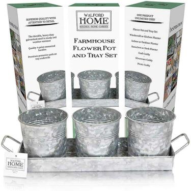 Farmhouse decor flower pot & tray