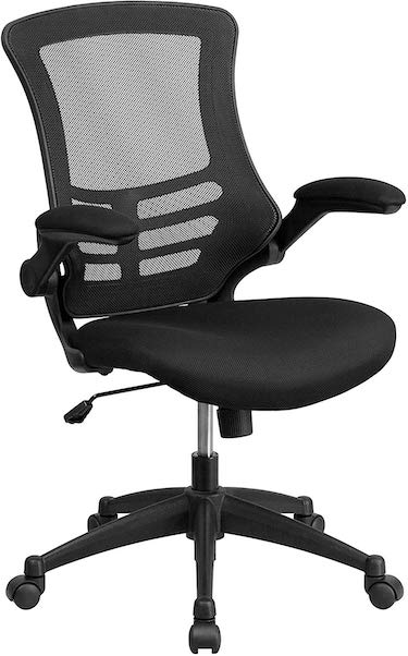 Flash furniture mid back black mesh swivel ergonomic task office chair with flip up arms