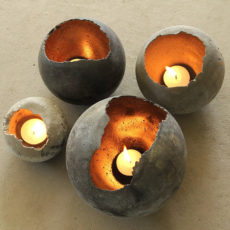 Hand blown concrete bowls