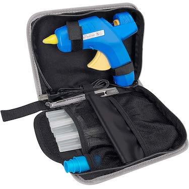 Hot glue gun kit 60:100w dual temp glue gun full size(not mini) with 10pcs glue sticks & other accessories in carrying case