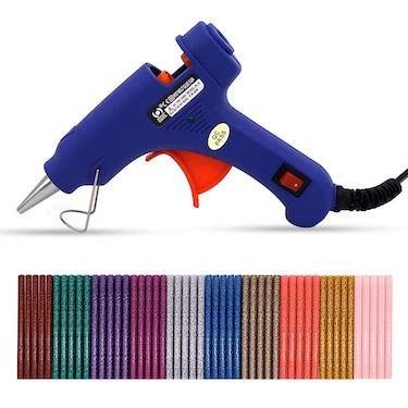 Karveden professional mini hot melt glue gun with 50pcs glitter adhesive glue sticks