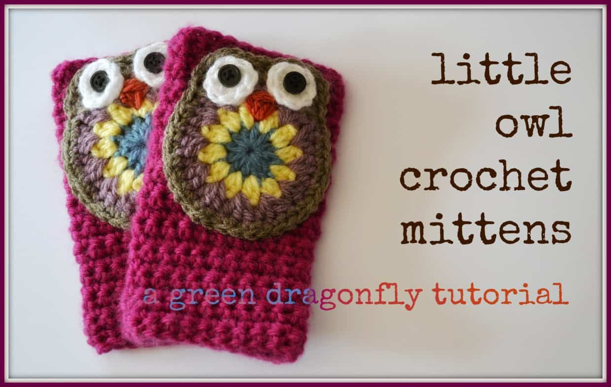Little owl crochet fingerless mittens