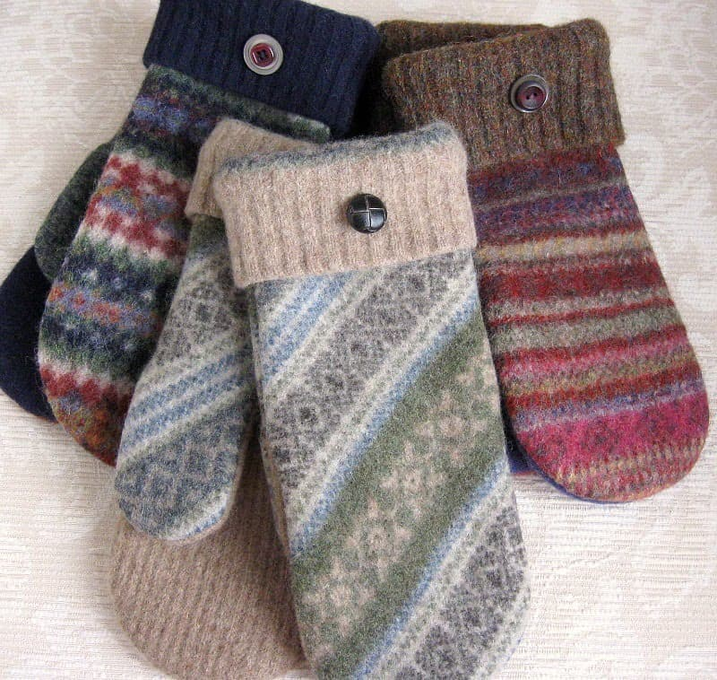 Lovely mittens from old sweaters