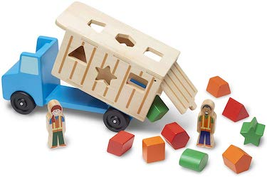Melissa & doug shape sorting wooden dump truck toy