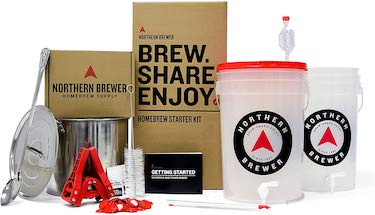 Northern brewer brew share enjoy homebrewing starter set with block party amber beer brewing recipe kit and stainless steel brew kettle