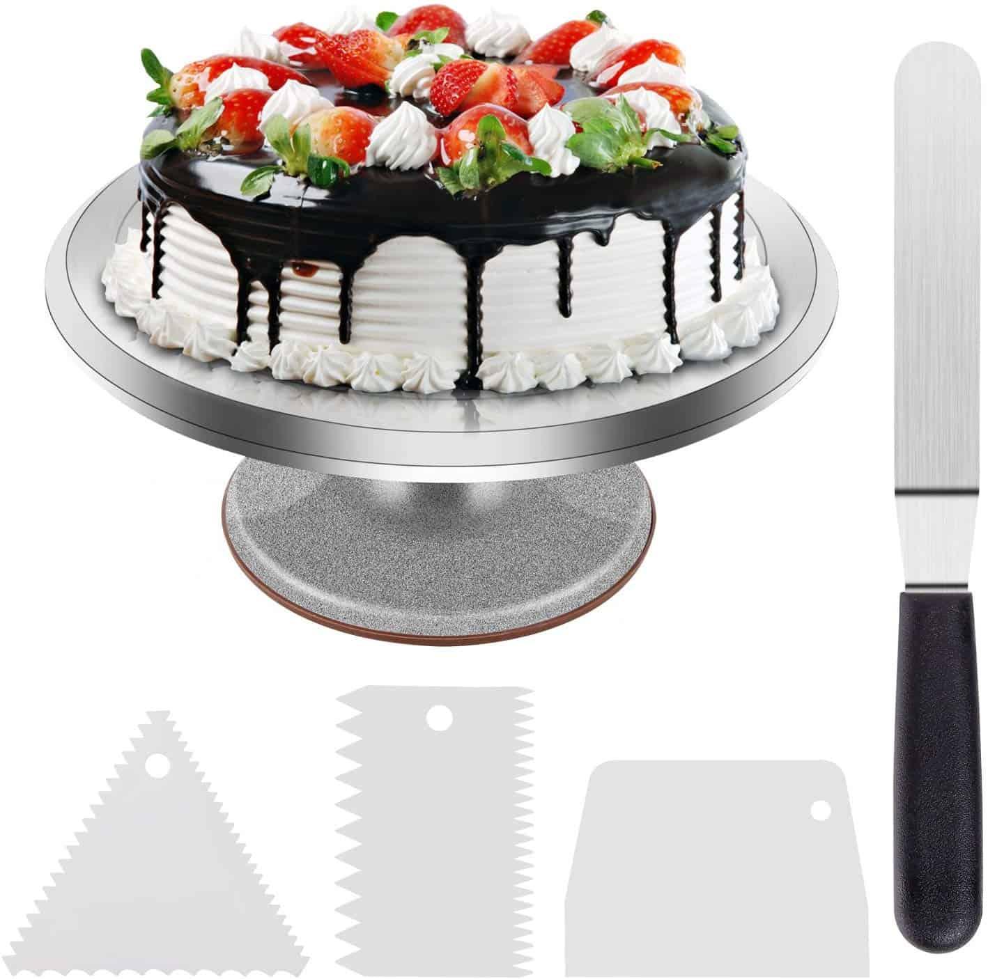 Ohuhu aluminum revolving cake stand