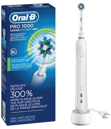 Oral b white pro 1000 power rechargeable electric toothbrush, powered by braun