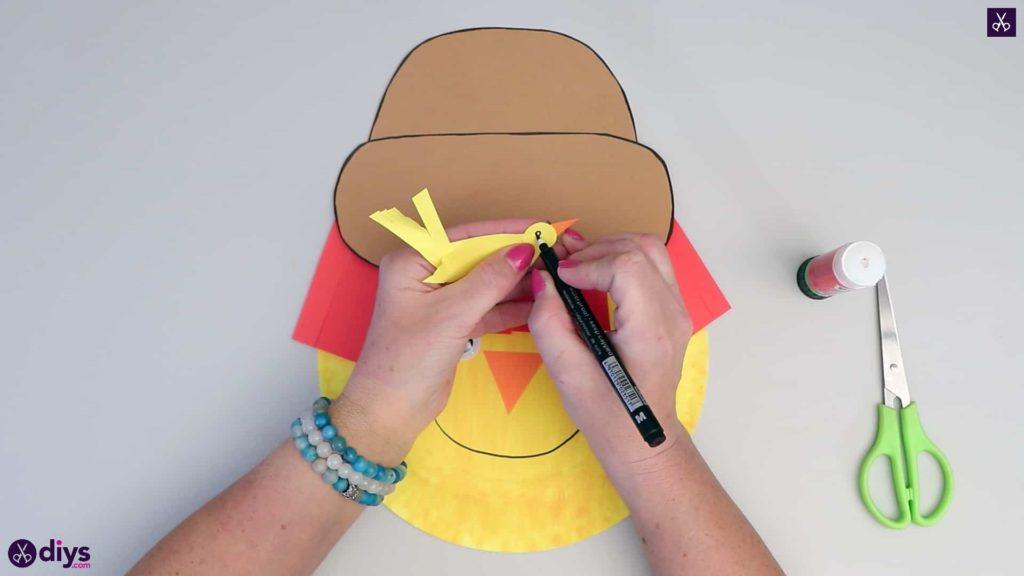 Paper plate scarecrow stencil bird