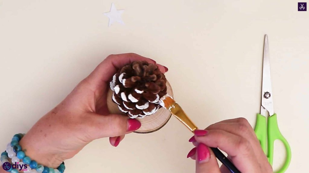 Pinecone christmas tree white paint