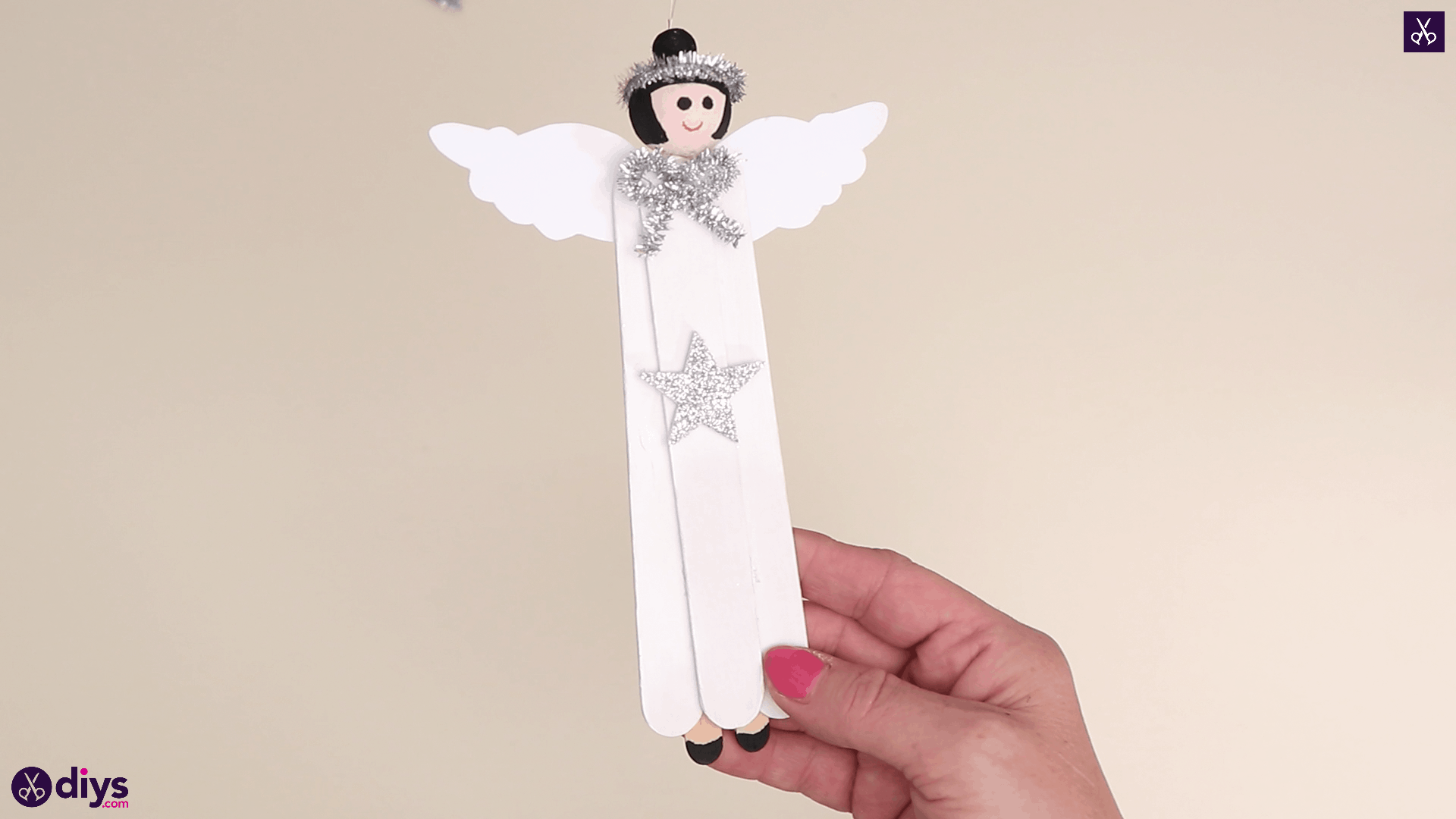 Popsicle stick angel ornament easy