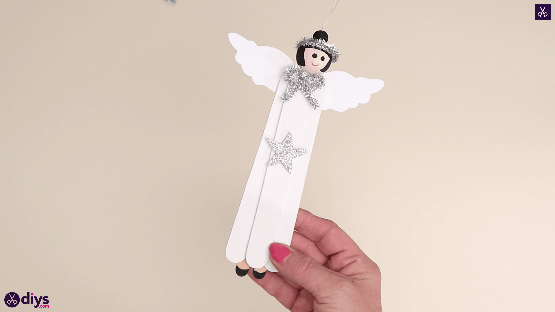 Popsicle stick angel ornament