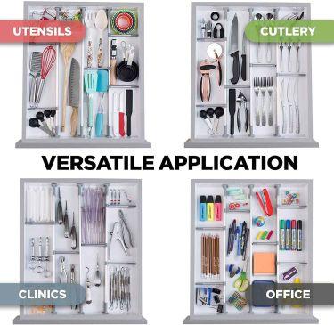 Practical comfort adjustable drawer organizer