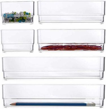 Stori clear plastic vanity & desk organizers