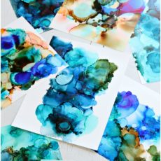 Simple water inspired alcohol ink art
