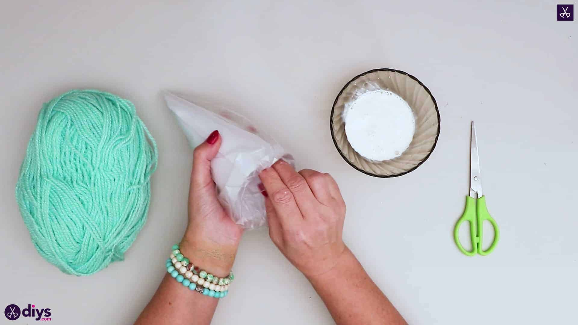 String art christmas tree cone plastic bag
