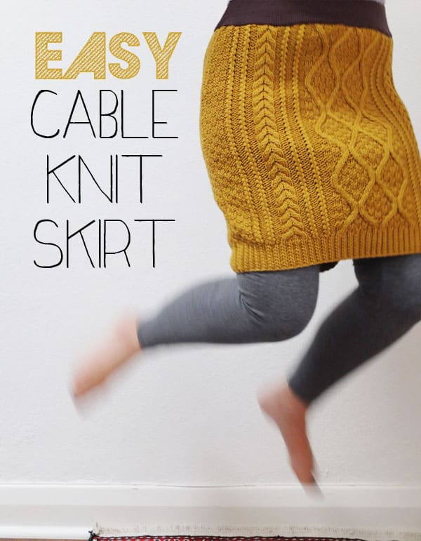 Sweater to cable knit skirt refashioning