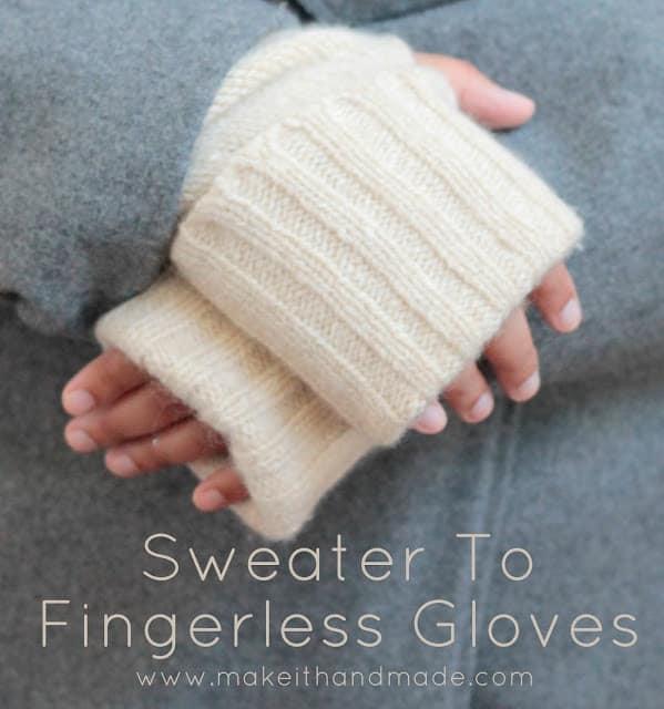 Sweater to fingerless gloves