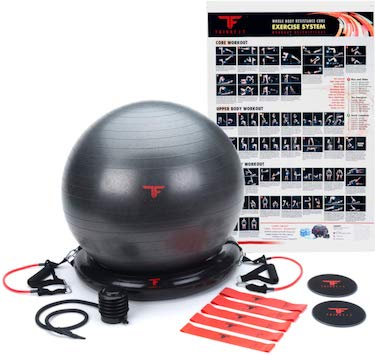 Thinkfit anti burst yoga exercise ball 65cm & resistance exercise bands