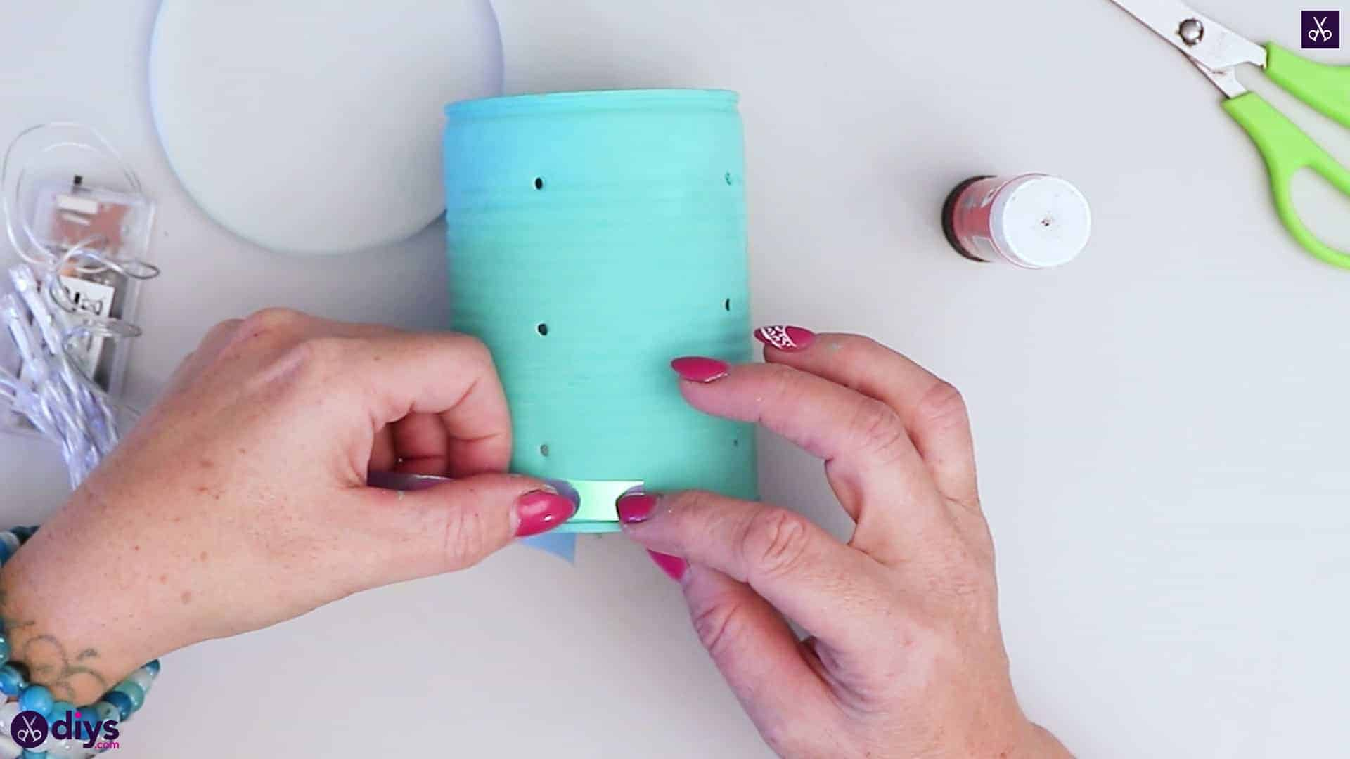 Tin can mood lamp add ribbon