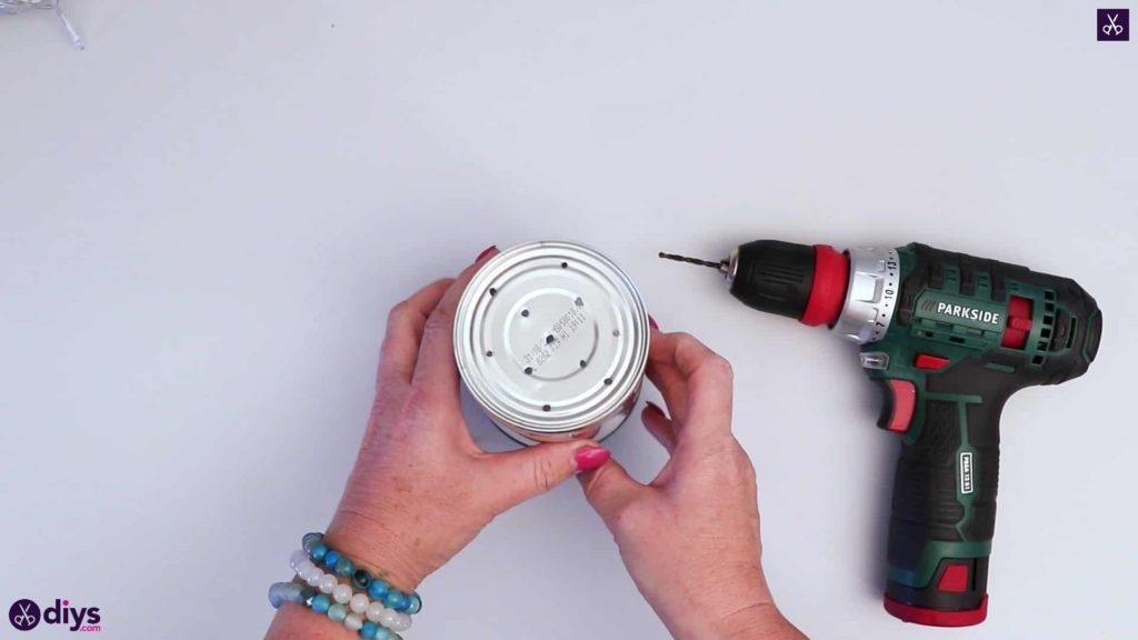 Tin can mood lamp drill bottom