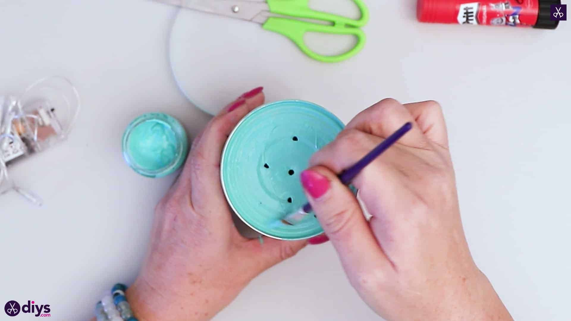 Tin can mood lamp turquoise paint