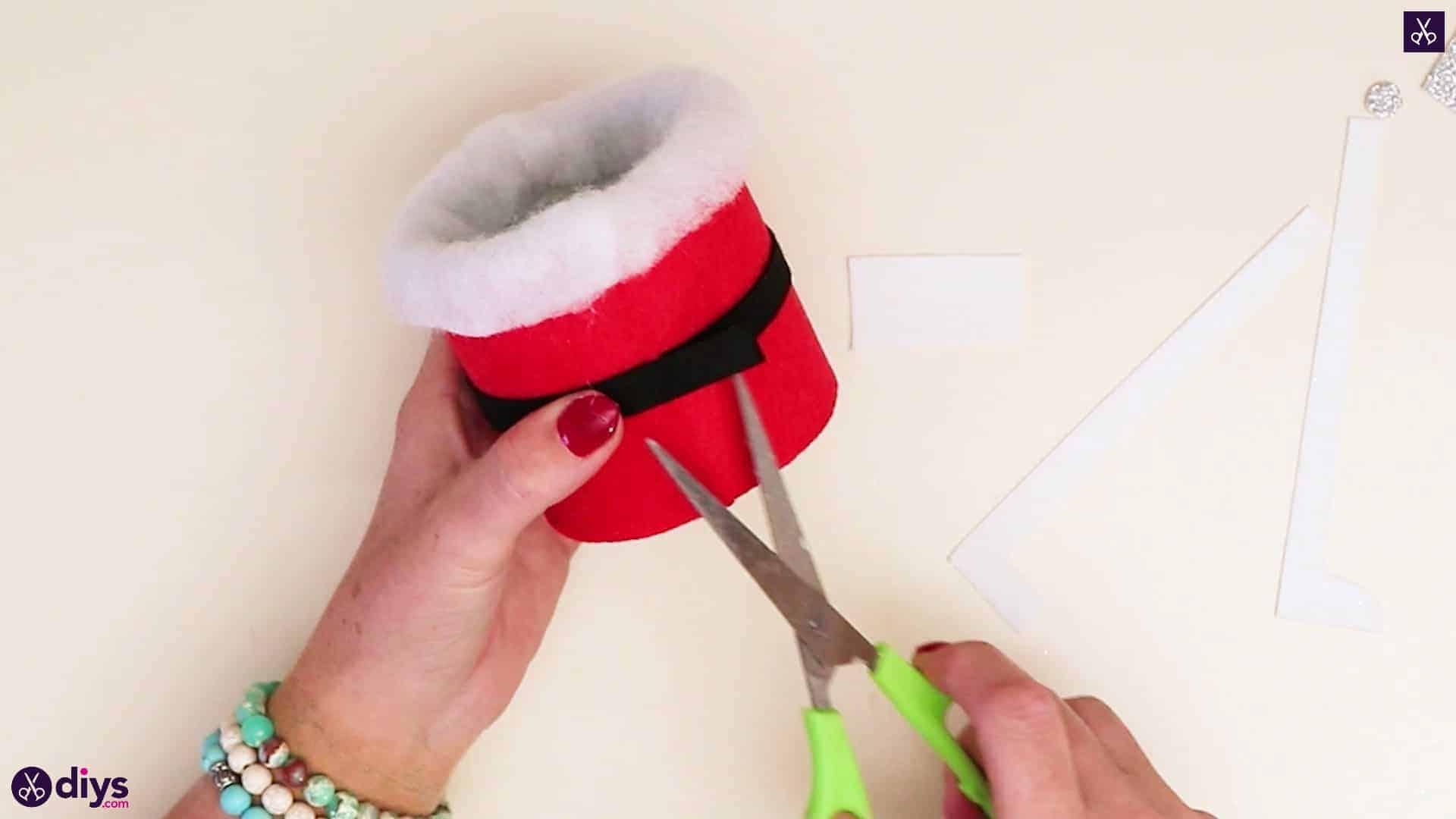 Tin can santa candy holder cutting black strip