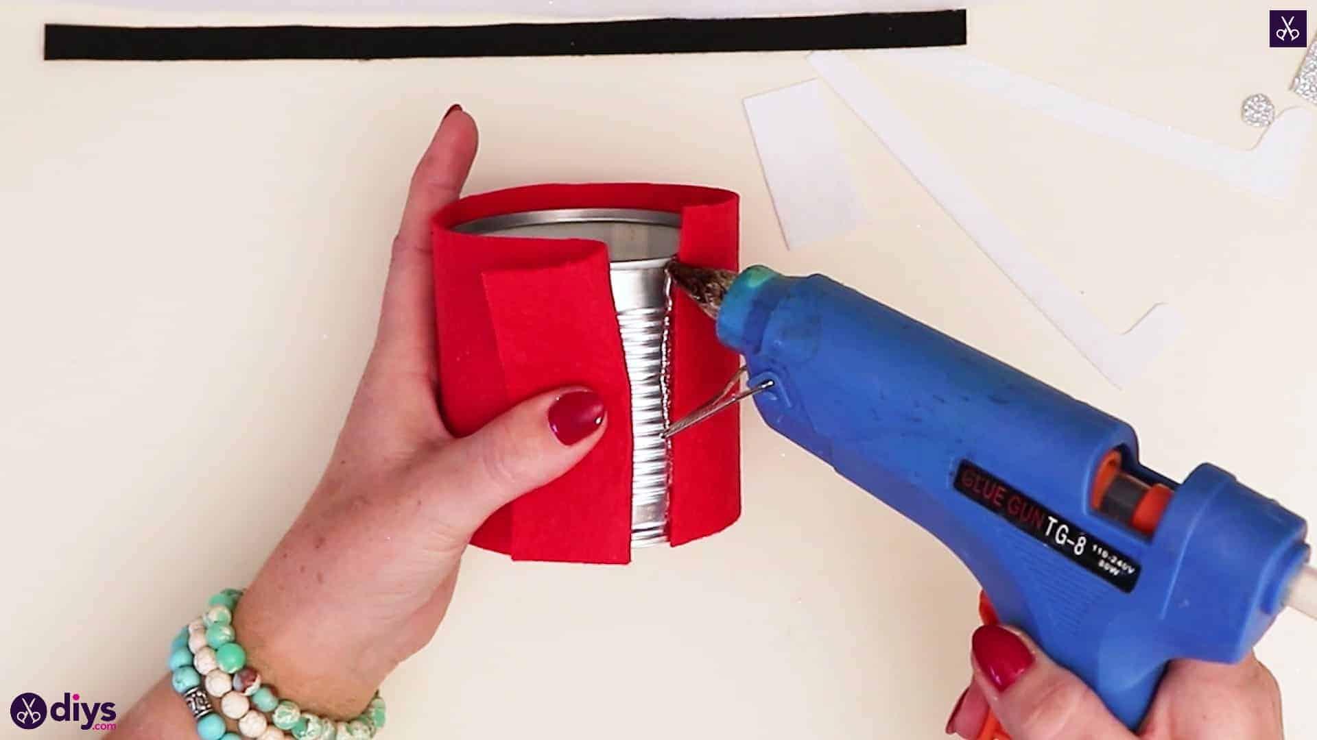 Tin can santa candy holder glue