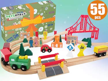 Toysopoly wooden train tracks full set