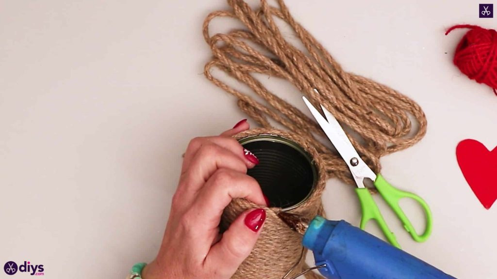 Twine wrapped tin can container add glue