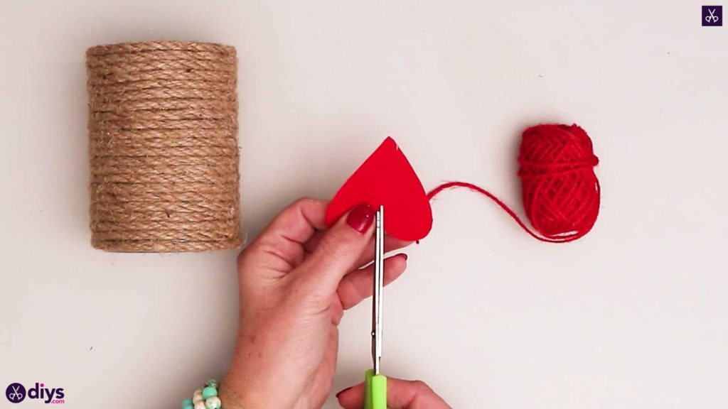 Twine wrapped tin can container red heart
