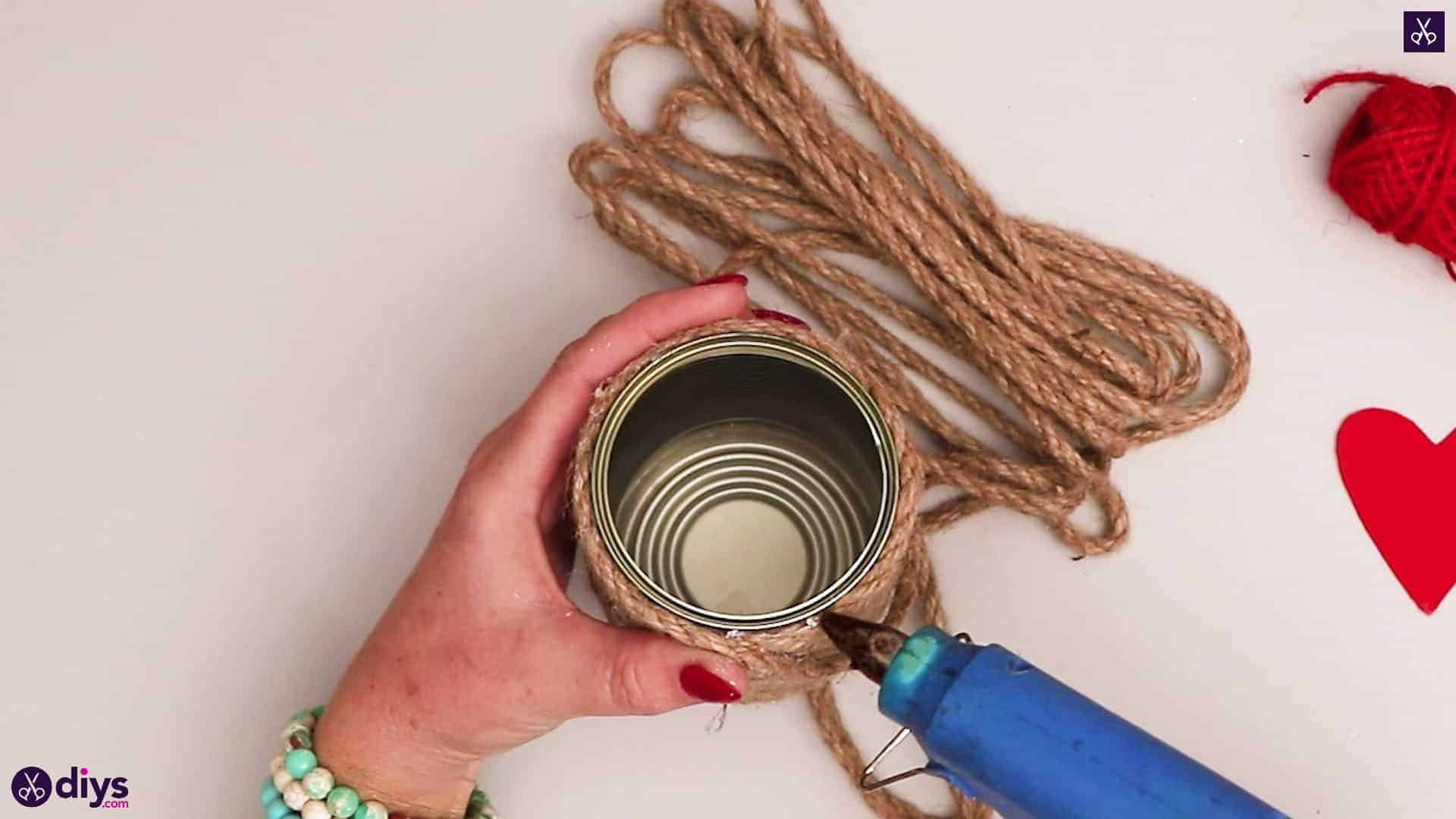 Twine wrapped tin can container rope