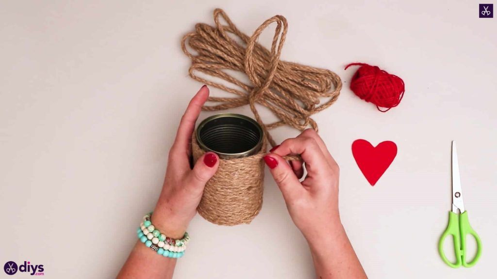 Twine wrapped tin can container wrap rope