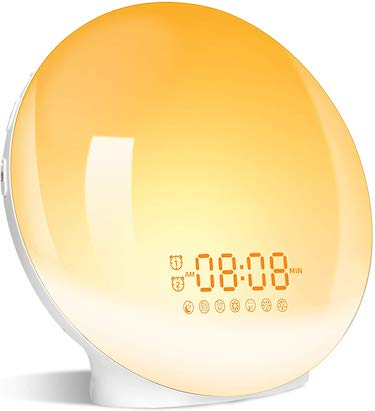 Wake up light, lbell alarm clock 8 colored sunrise simulation & sleep aid feature