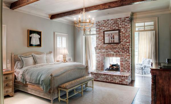 Exposed beams bedroom