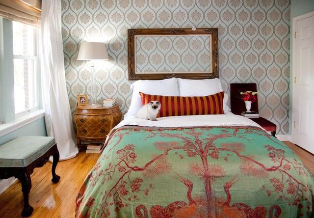 Mixed prints bedroom
