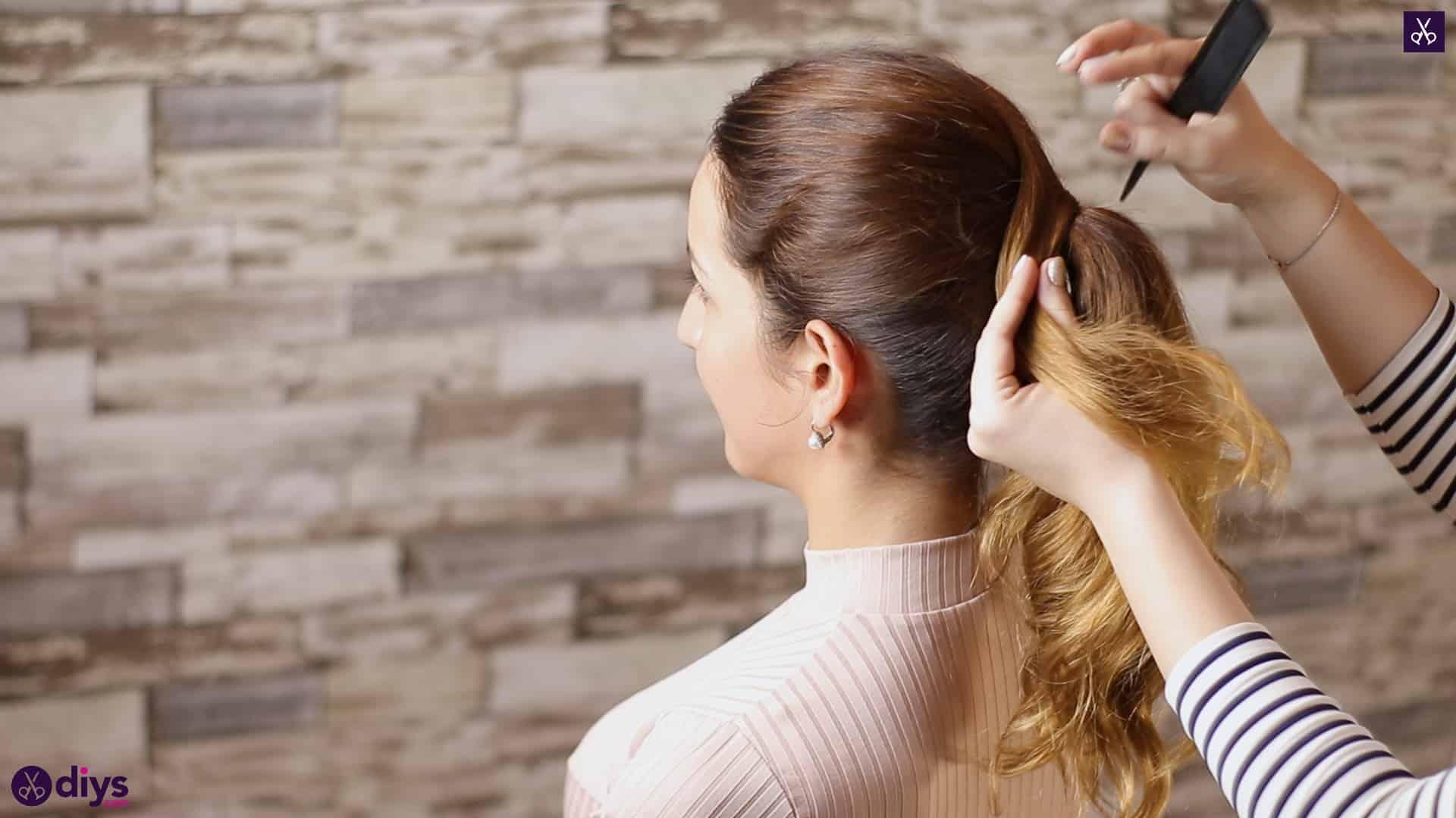 3 easy ponytails for everyday wear wraparound pony step 4b