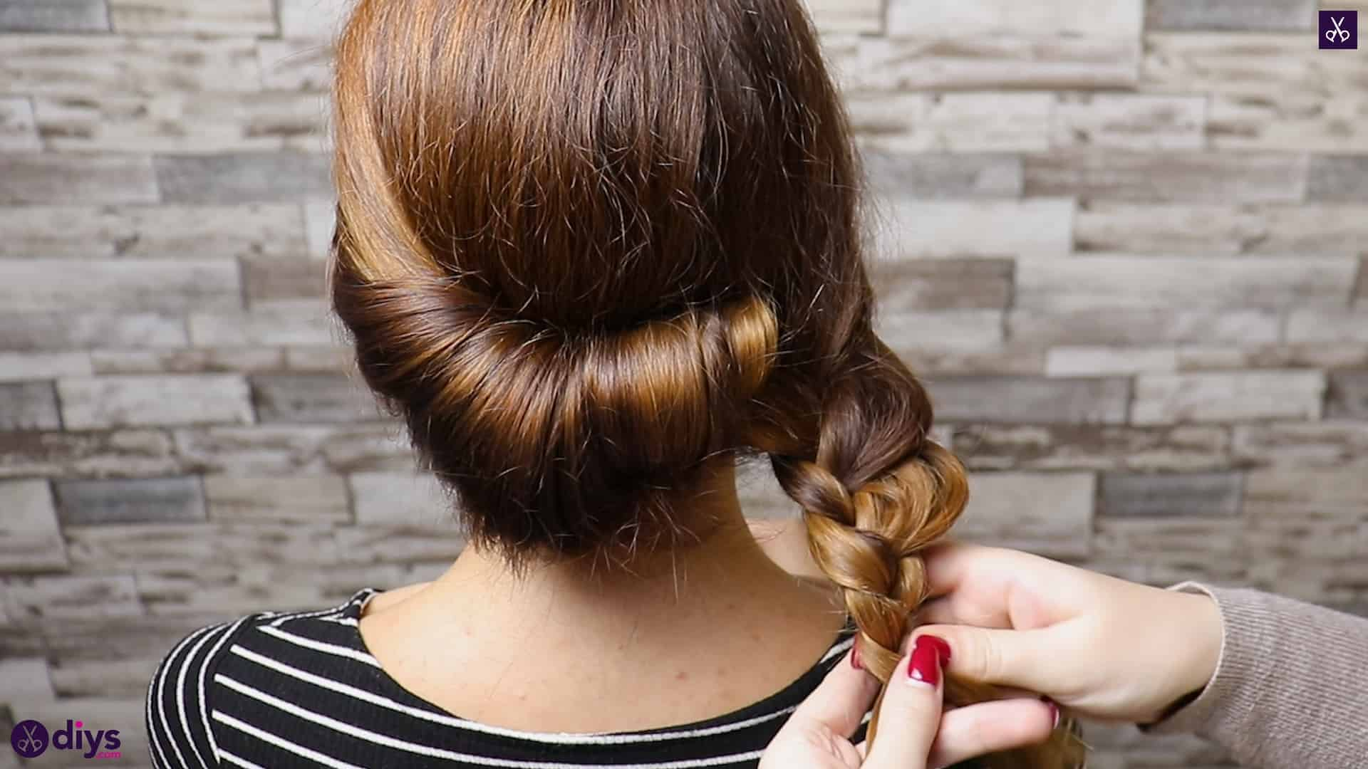 Beautiful summer bun with flowers hairstyle step 3b