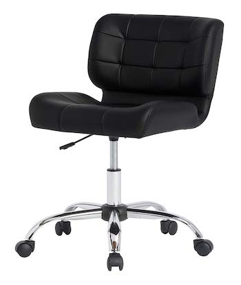 Calico designs modern black crest armless office chair swivel task chair